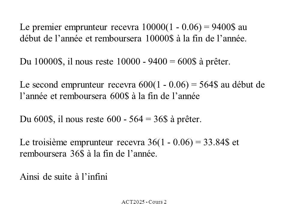ACT2025 - Cours 2 Le premier emprunteur recevra 10000(1 - 0.06) = 9400$ au début de lannée et remboursera 10000$ à la fin de lannée. Du 10000$, il nou