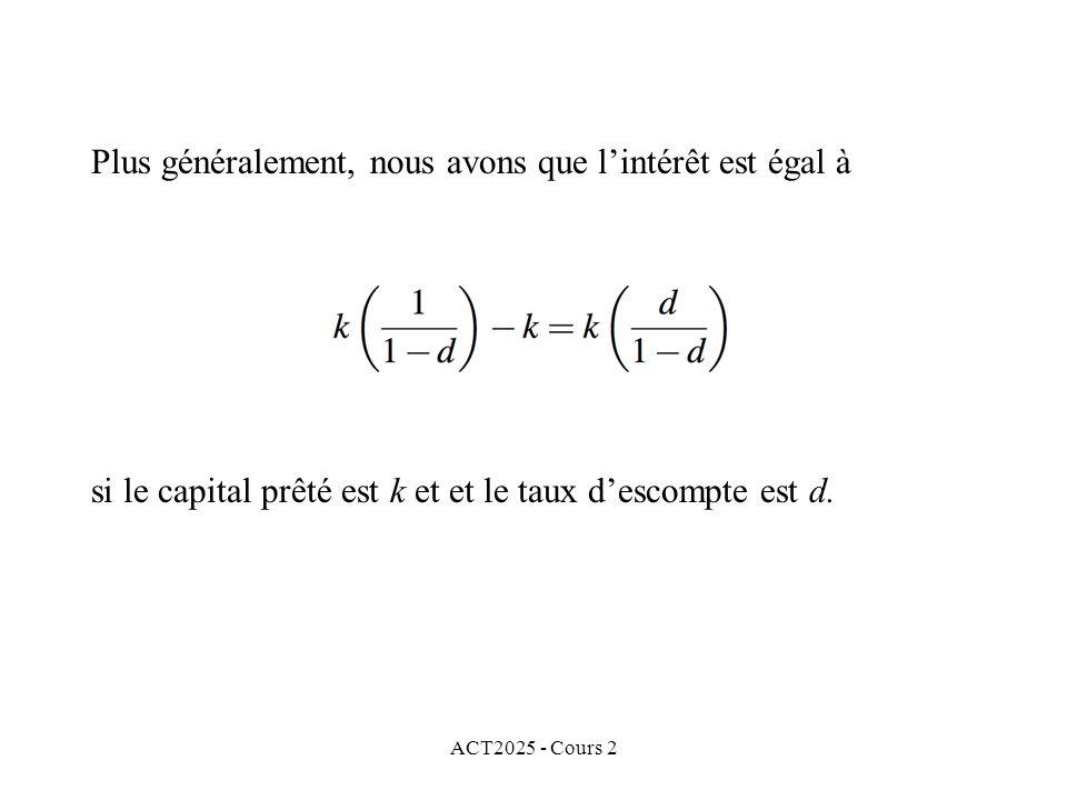 ACT2025 - Cours 2 Plus généralement, nous avons que lintérêt est égal à si le capital prêté est k et et le taux descompte est d.