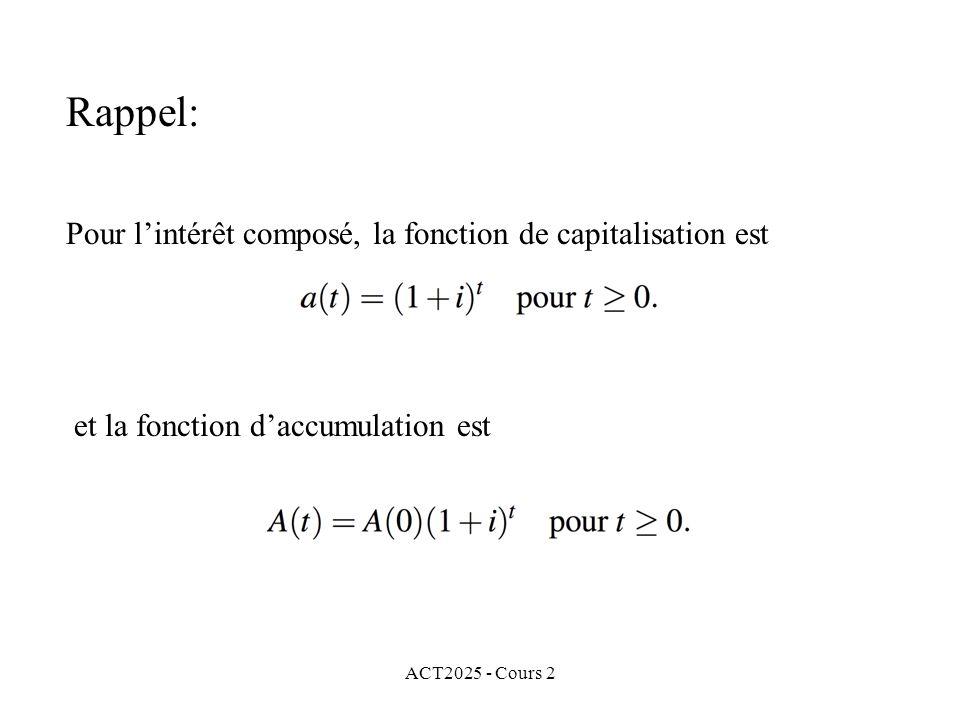 ACT2025 - Cours 2 Rappel: Pour lintérêt composé, la fonction de capitalisation est et la fonction daccumulation est