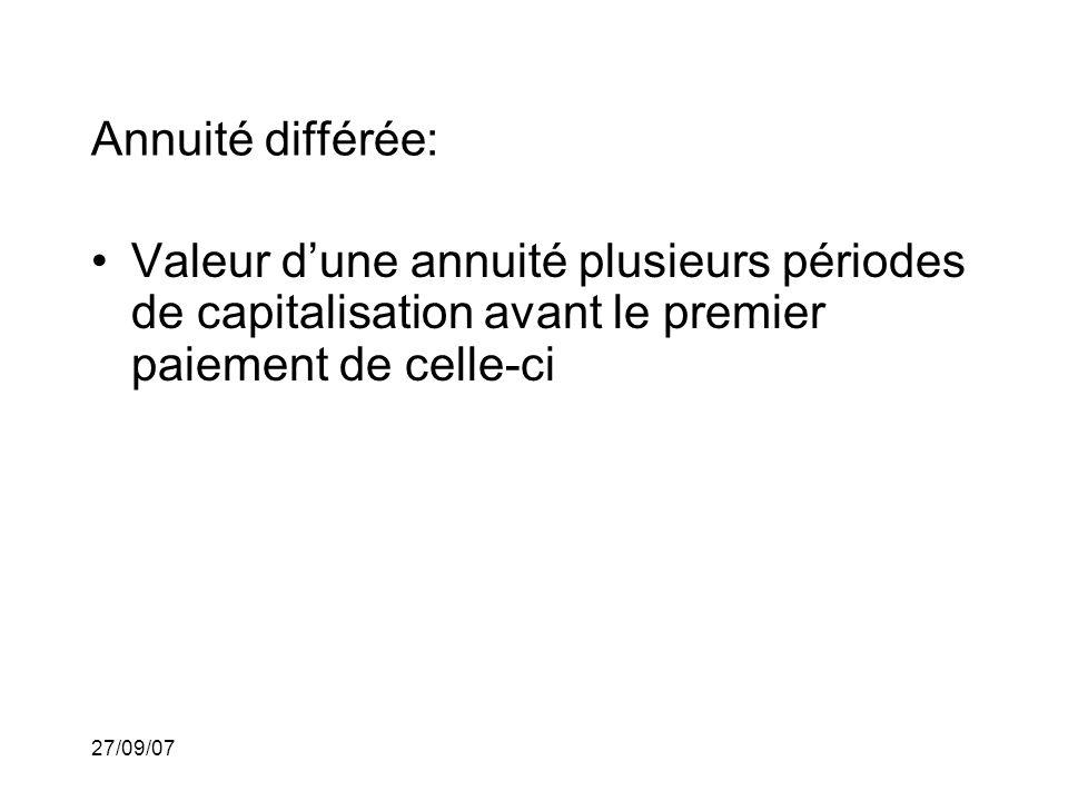 27/09/07 Annuité différée: Valeur dune annuité plusieurs périodes de capitalisation avant le premier paiement de celle-ci