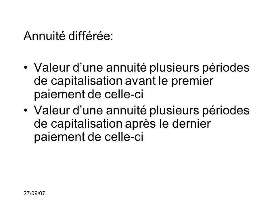 27/09/07 Annuité différée: Valeur dune annuité plusieurs périodes de capitalisation avant le premier paiement de celle-ci Valeur dune annuité plusieurs périodes de capitalisation après le dernier paiement de celle-ci