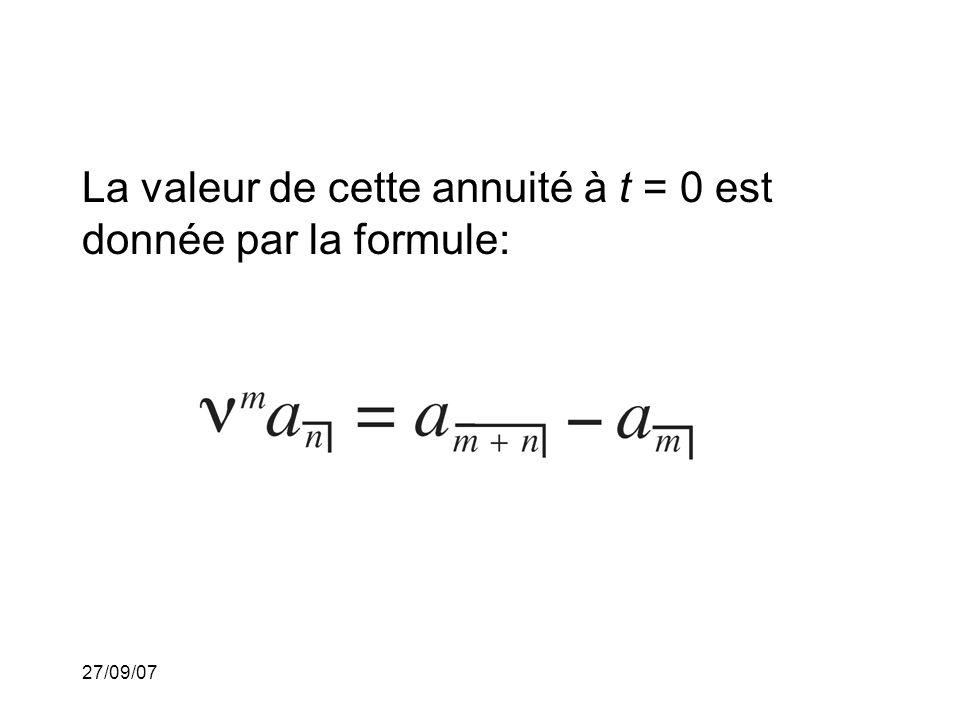 27/09/07 La valeur de cette annuité à t = 0 est donnée par la formule:
