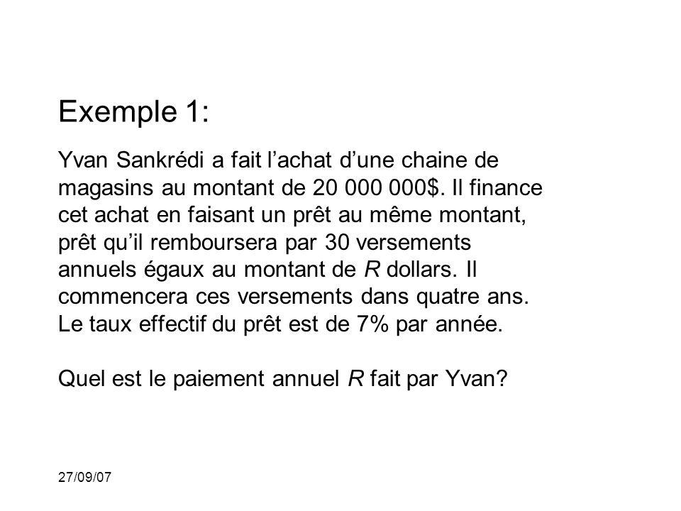 27/09/07 Exemple 1: Yvan Sankrédi a fait lachat dune chaine de magasins au montant de 20 000 000$.