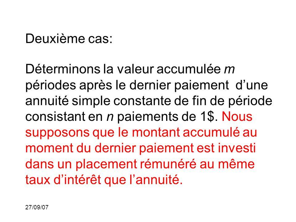 27/09/07 Deuxième cas: Déterminons la valeur accumulée m périodes après le dernier paiement dune annuité simple constante de fin de période consistant en n paiements de 1$.