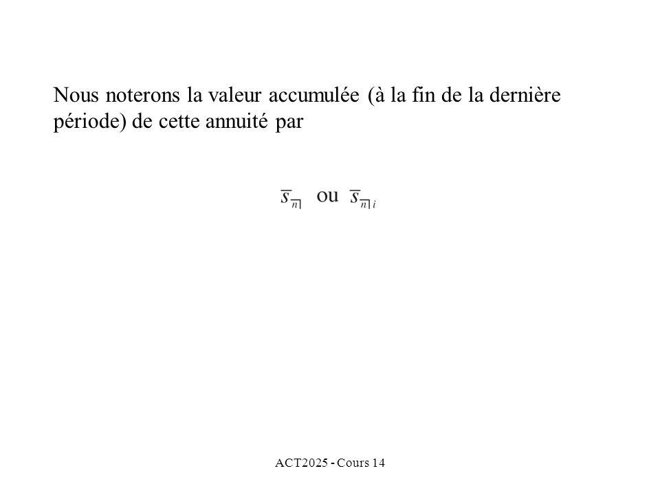 ACT2025 - Cours 14 Nous noterons la valeur accumulée (à la fin de la dernière période) de cette annuité par