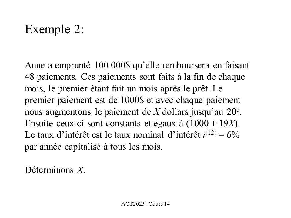ACT2025 - Cours 14 Anne a emprunté 100 000$ quelle remboursera en faisant 48 paiements.