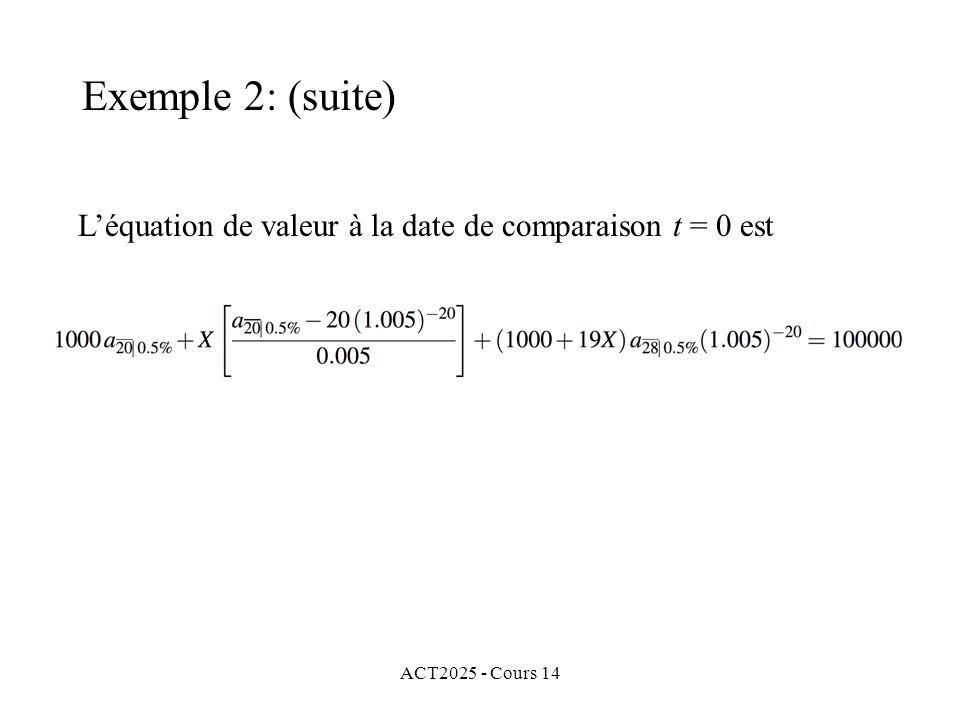 ACT2025 - Cours 14 Léquation de valeur à la date de comparaison t = 0 est Exemple 2: (suite)