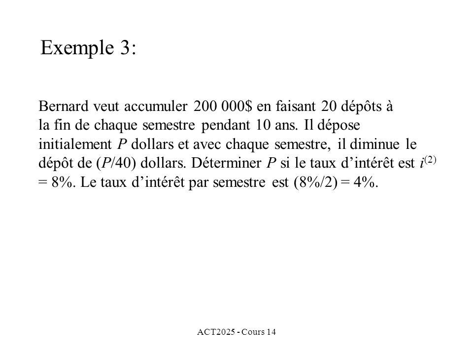 ACT2025 - Cours 14 Bernard veut accumuler 200 000$ en faisant 20 dépôts à la fin de chaque semestre pendant 10 ans.