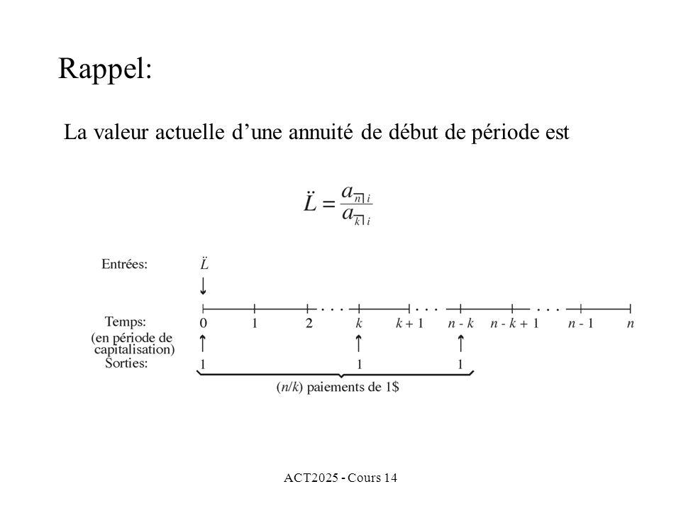 ACT2025 - Cours 14 La valeur actuelle dune annuité de début de période est Rappel: