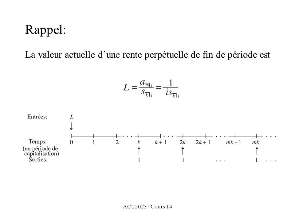 ACT2025 - Cours 14 La valeur actuelle dune rente perpétuelle de fin de période est Rappel: