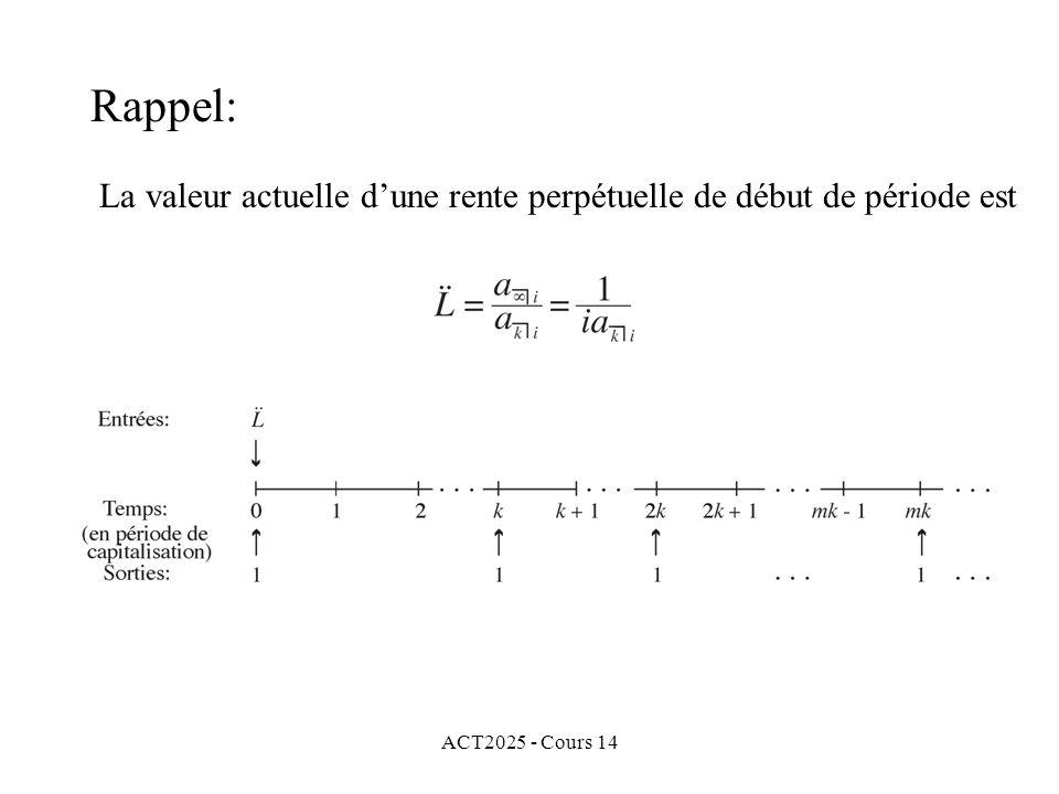 ACT2025 - Cours 14 La valeur actuelle dune rente perpétuelle de début de période est Rappel: