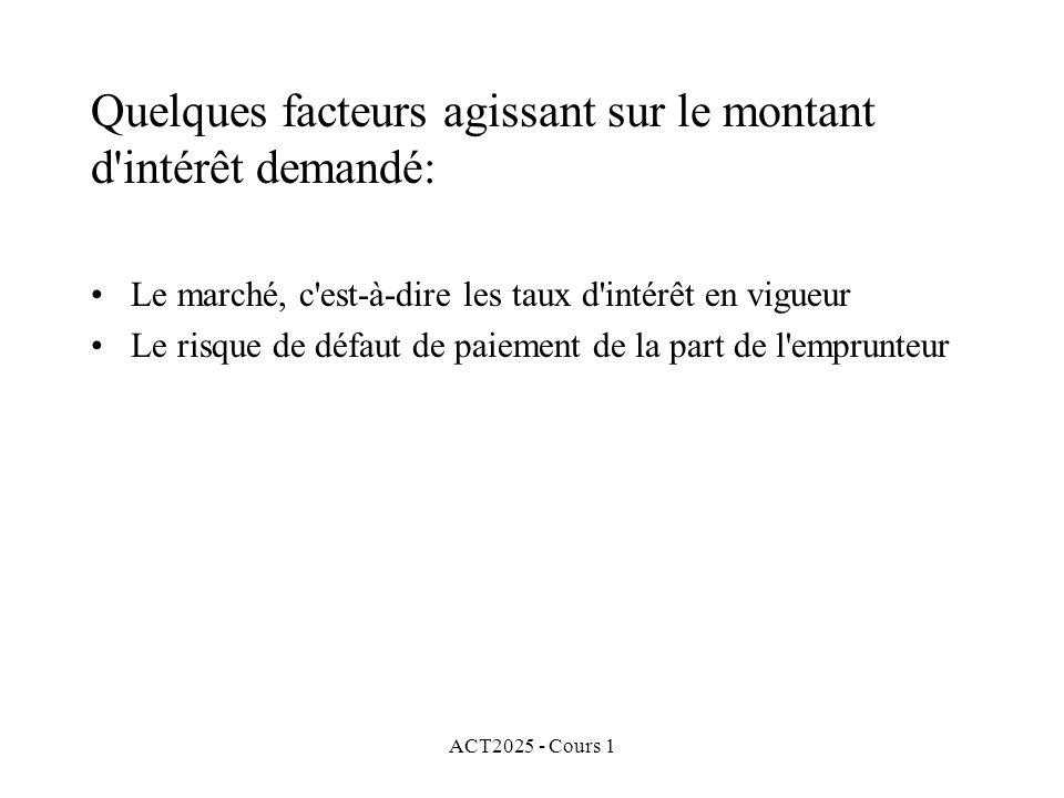 ACT2025 - Cours 1 Taux effectif dintérêt pour la n e période: Ce taux est le rapport du montant dintérêt gagné pendant la n e période sur le montant investi au début de la n e période.