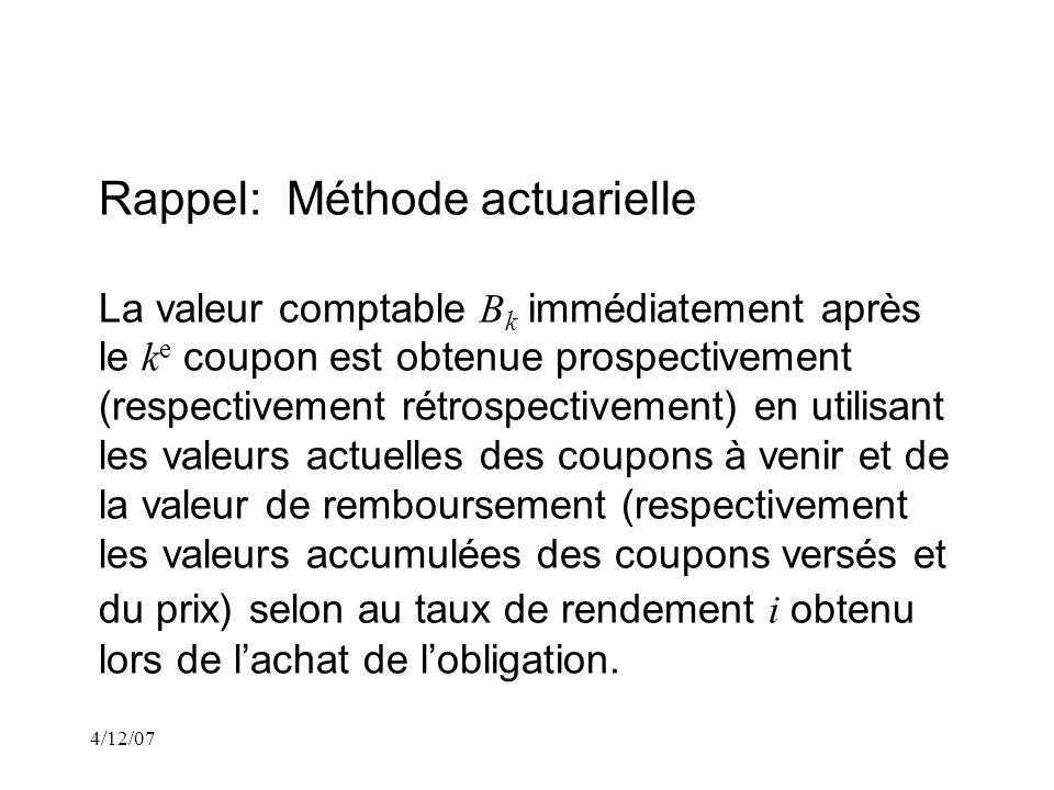 4/12/07 Rappel: Méthode actuarielle La portion dintérêt I k du k e coupon est iB (k- 1).