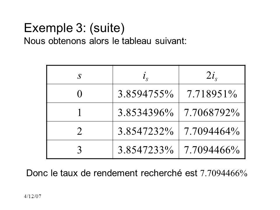4/12/07 Exemple 3: (suite) Nous obtenons alors le tableau suivant: sisis 2is2is 03.8594755%7.718951% 13.8534396%7.7068792% 23.8547232%7.7094464% 33.8547233%7.7094466% Donc le taux de rendement recherché est 7.7094466%