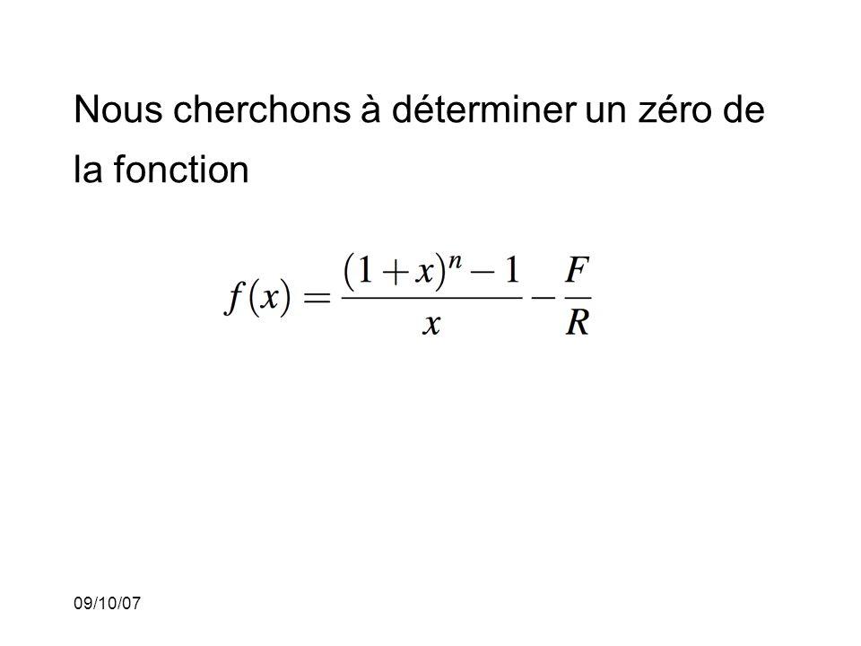 09/10/07 La règle récursive de la méthode de Newton-Raphson est alors