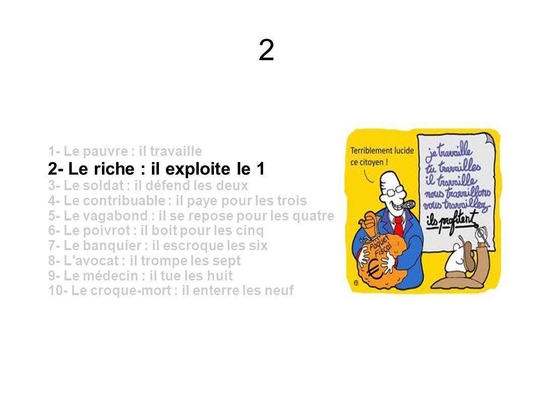1 1- Le pauvre : il travaille 2- Le riche : il exploite le 1 3- Le soldat : il défend les deux 4- Le contribuable : il paye pour les trois 5- Le vagab