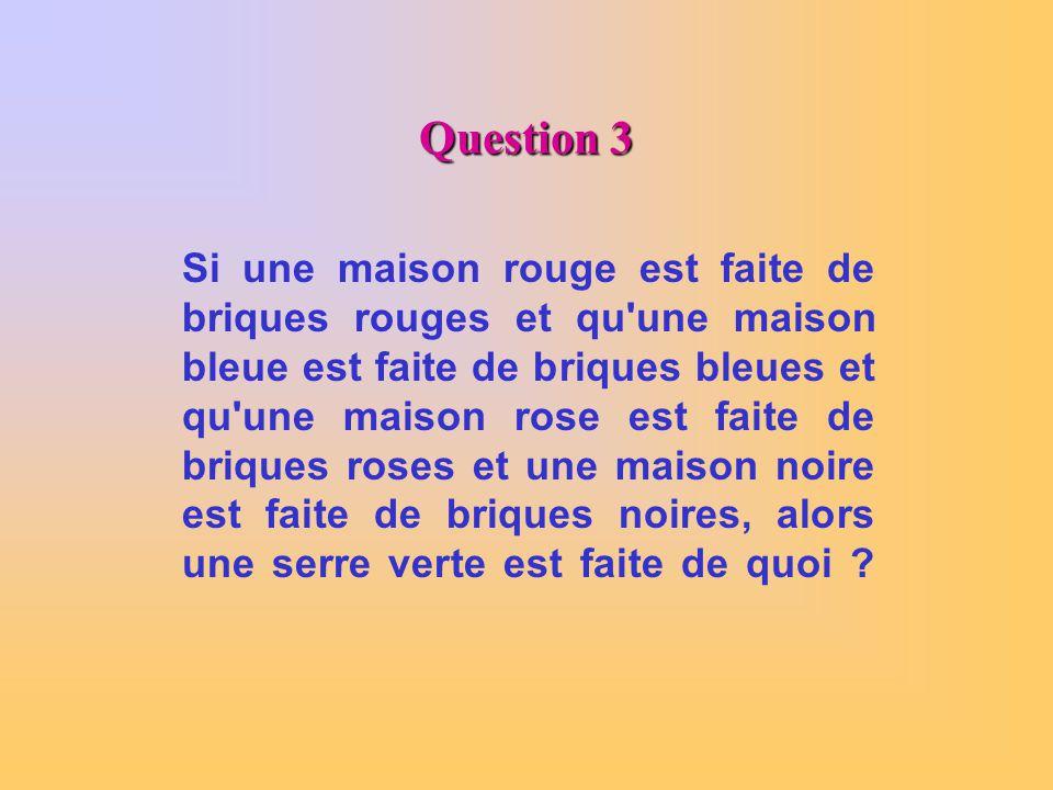Question 3 Si une maison rouge est faite de briques rouges et qu'une maison bleue est faite de briques bleues et qu'une maison rose est faite de briqu