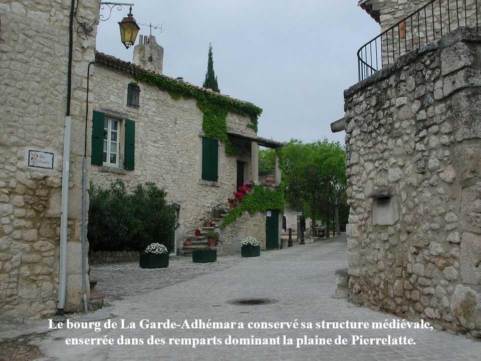 Le bourg de La Garde-Adhémar a conservé sa structure médiévale, enserrée dans des remparts dominant la plaine de Pierrelatte.