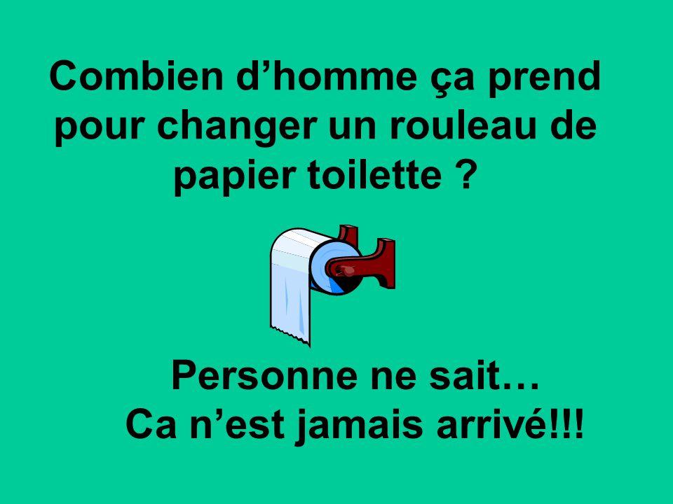 Combien dhomme ça prend pour changer un rouleau de papier toilette ? Personne ne sait… Ca nest jamais arrivé!!!