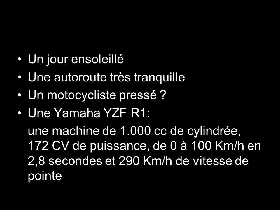 Un jour ensoleillé Une autoroute très tranquille Un motocycliste pressé ? Une Yamaha YZF R1: une machine de 1.000 cc de cylindrée, 172 CV de puissance
