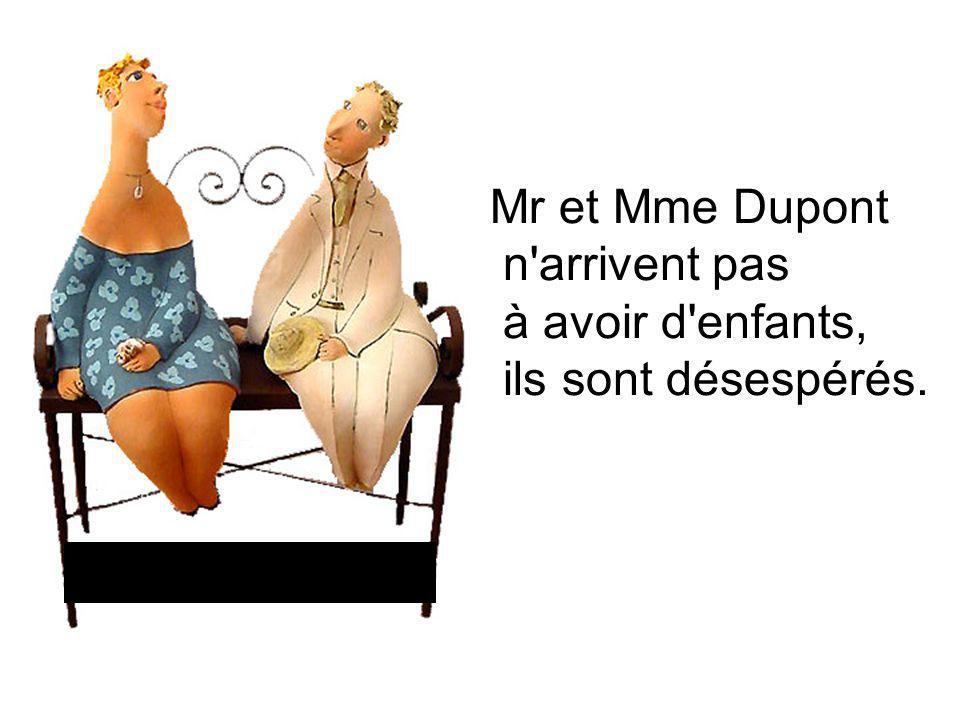 Un jour, Mme Dupont dit à son mari : « écoute, au-dessus vit Mr Mohammed et toute sa famille, ils ont un enfant chaque année, tu devrais peut-être aller le voir : qui sait, si ça se trouve Mr Mohammed Possède des herbes de fertilité venues de son pays.
