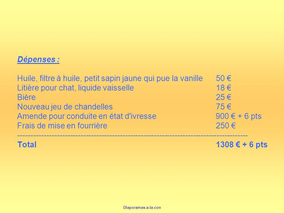 Diaporamas-a-la-con Dépenses : Huile, filtre à huile, petit sapin jaune qui pue la vanille50 Litière pour chat, liquide vaisselle18 Bière25 Nouveau je