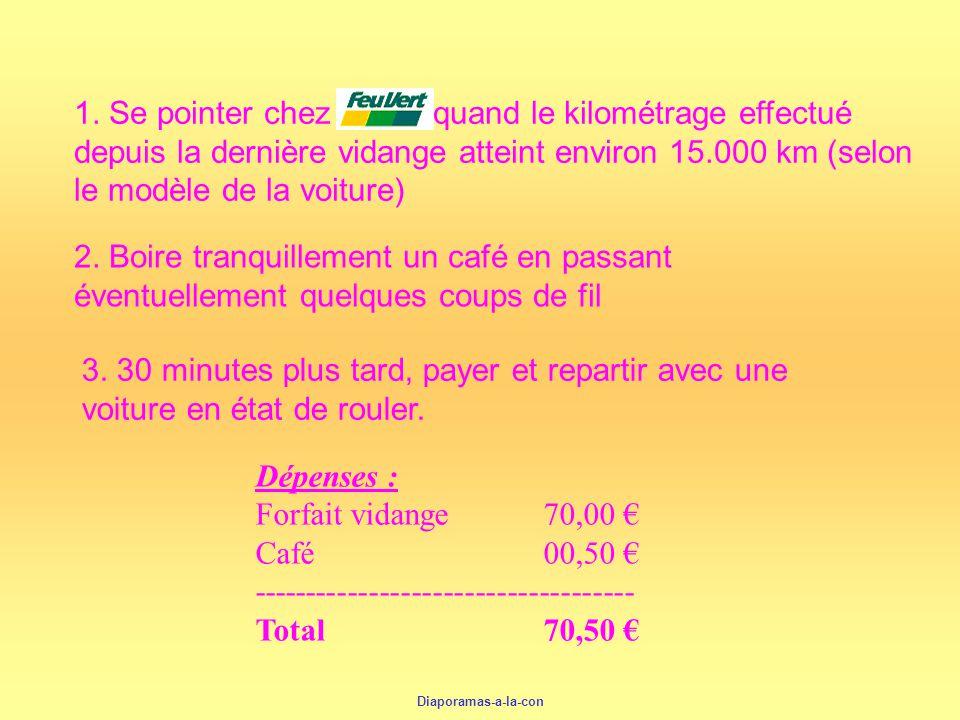 Dépenses : Forfait vidange70,00 Café 00,50 ------------------------------------ Total 70,50 3. 30 minutes plus tard, payer et repartir avec une voitur