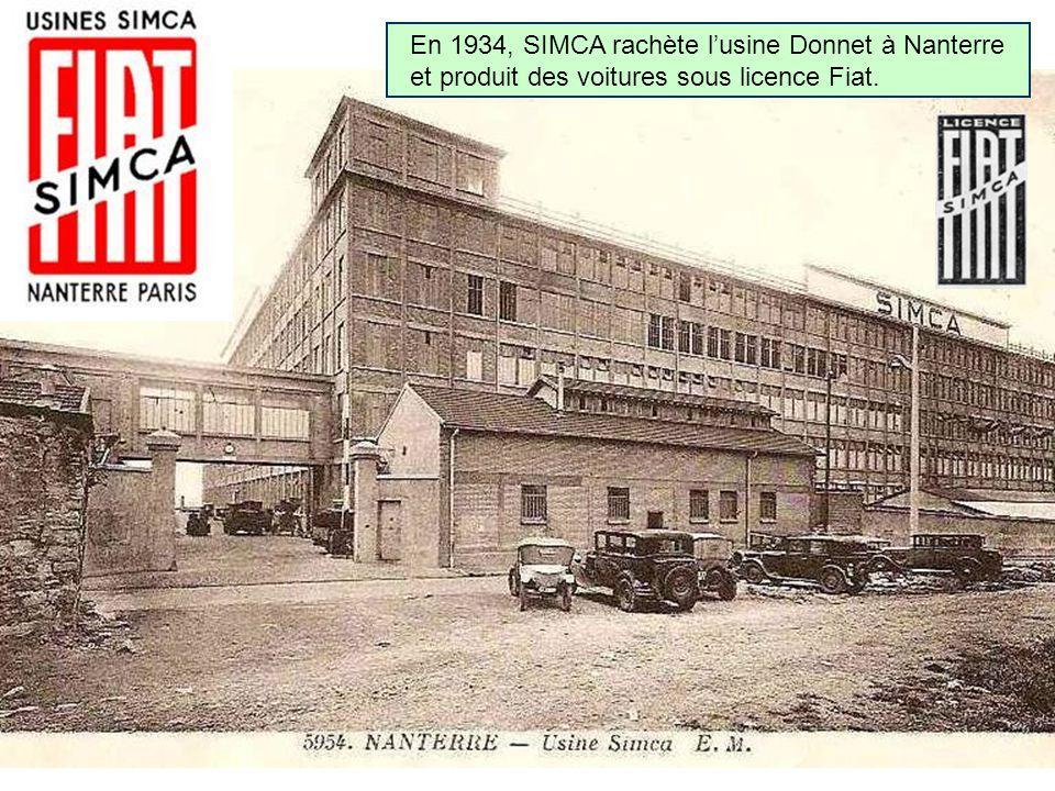En 1934, SIMCA rachète lusine Donnet à Nanterre et produit des voitures sous licence Fiat.