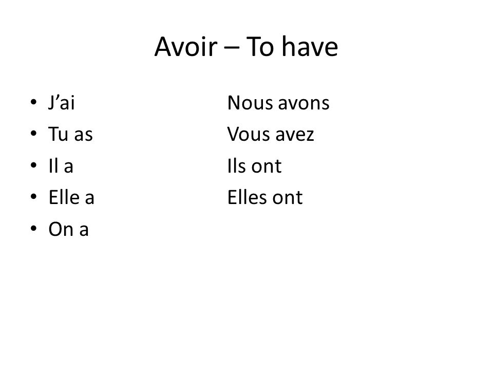 AGAIN Turn to your left and tell the person the conjugations of etre and what it means, then tell them the conjugations of avoir and what it means.