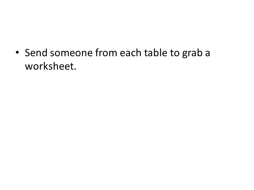 Send someone from each table to grab a worksheet.