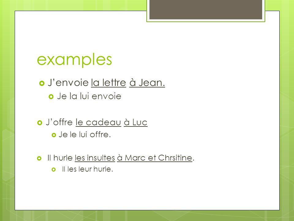 examples Jenvoie la lettre à Jean. Je la lui envoie Joffre le cadeau à Luc Je le lui offre.