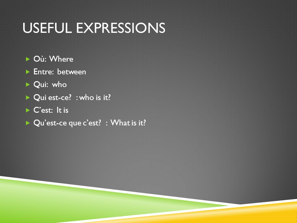 USEFUL EXPRESSIONS Où: Where Entre: between Qui: who Qui est-ce.