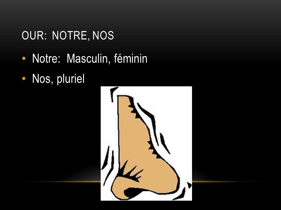 OUR: NOTRE, NOS Notre: Masculin, féminin Nos, pluriel