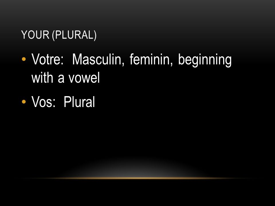 YOUR (PLURAL) Votre: Masculin, feminin, beginning with a vowel Vos: Plural