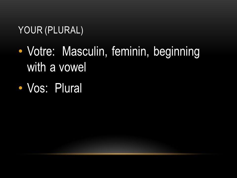 YOUR (PLURAL) Votre: Masculin, feminin, beginning with a vowel Vos: Plural