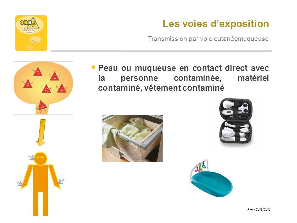 Les voies dexposition Transmission par voie cutanéomuqueuse Peau ou muqueuse en contact direct avec la personne contaminée, matériel contaminé, vêteme