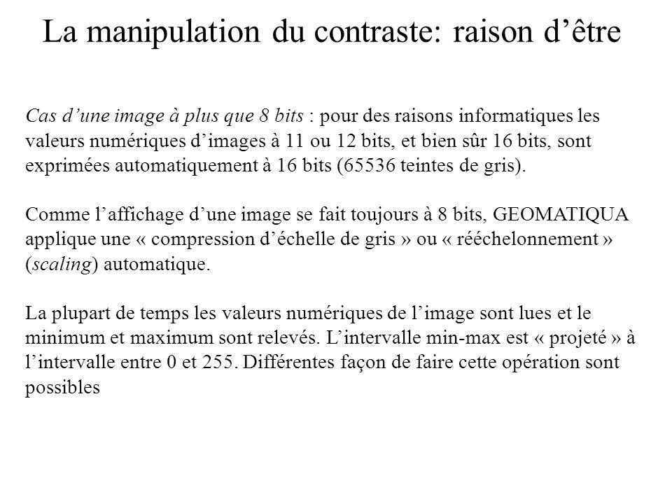La manipulation du contraste: raison dêtre Cas dune image à plus que 8 bits : pour des raisons informatiques les valeurs numériques dimages à 11 ou 12