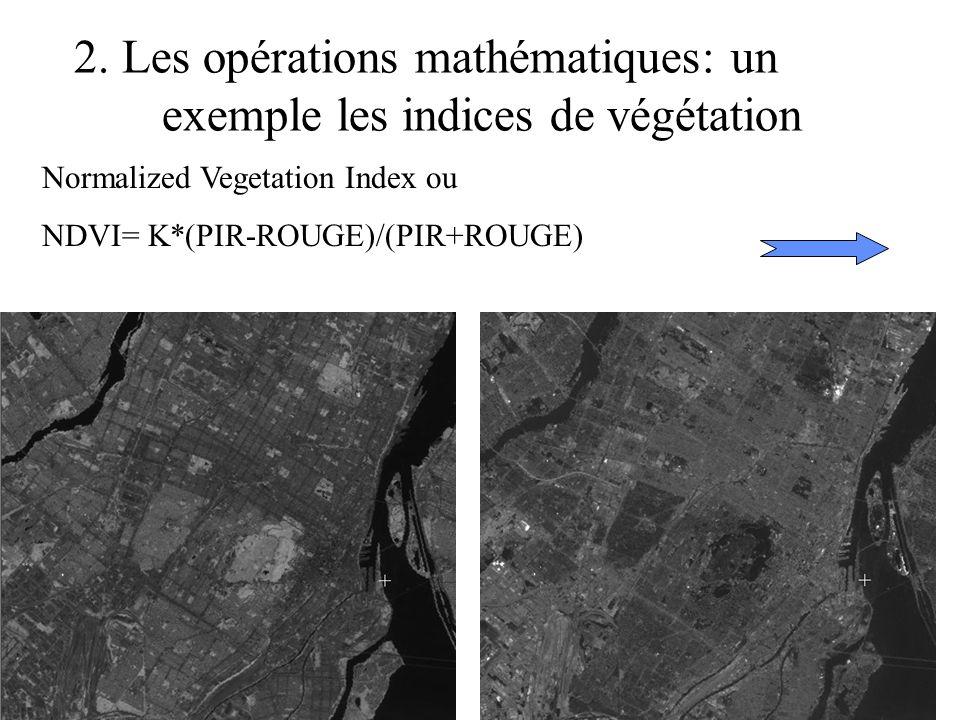 2. Les opérations mathématiques: un exemple les indices de végétation Normalized Vegetation Index ou NDVI= K*(PIR-ROUGE)/(PIR+ROUGE)
