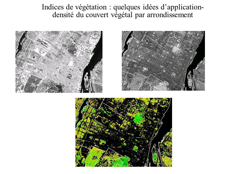 Indices de végétation : quelques idées dapplication- densité du couvert végétal par arrondissement