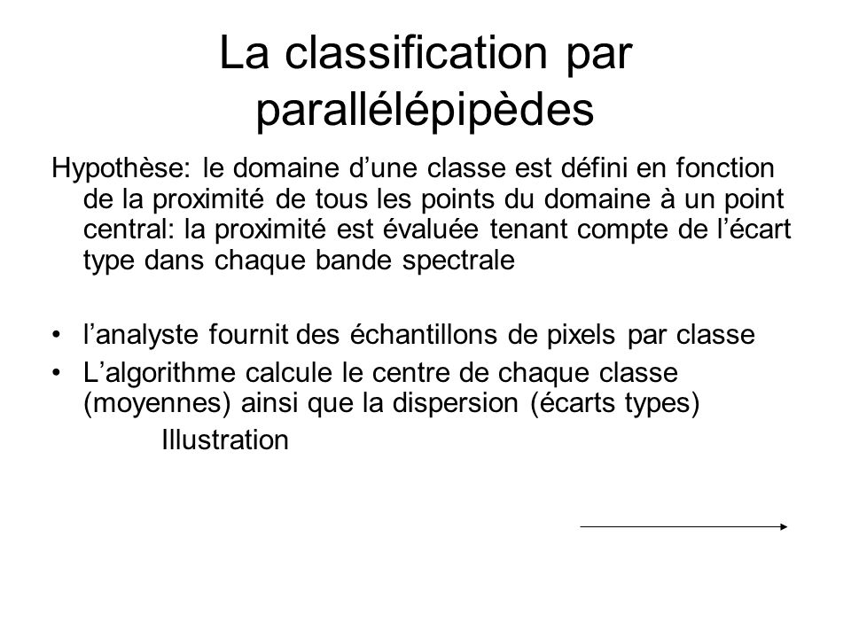 La classification par parallélépipèdes Hypothèse: le domaine dune classe est défini en fonction de la proximité de tous les points du domaine à un poi