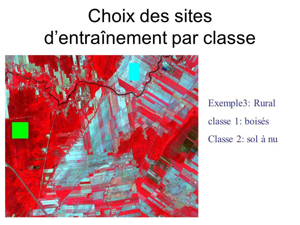 Choix des sites dentraînement par classe Exemple3: Rural classe 1: boisés Classe 2: sol à nu