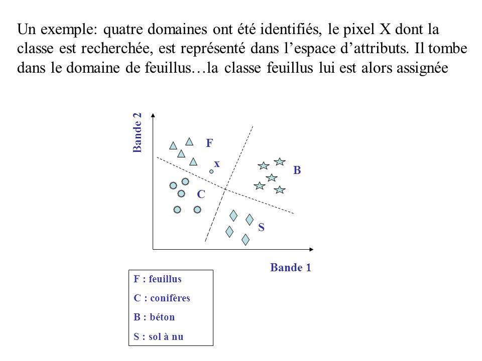 F C B Bande 1 Bande 2 S x F : feuillus C : conifères B : béton S : sol à nu Un exemple: quatre domaines ont été identifiés, le pixel X dont la classe