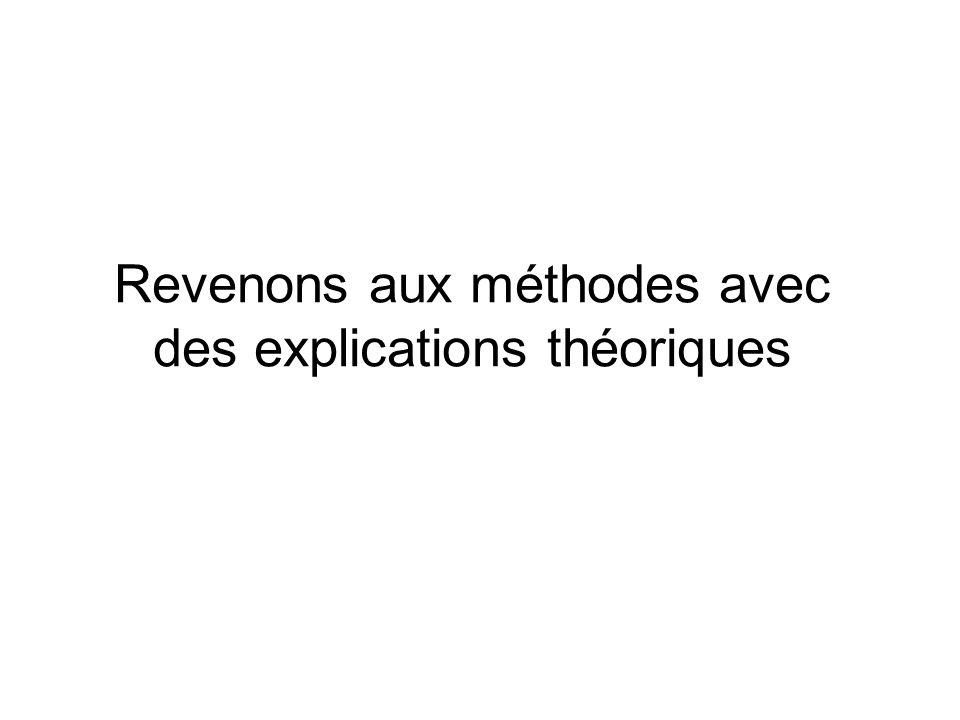 Revenons aux méthodes avec des explications théoriques