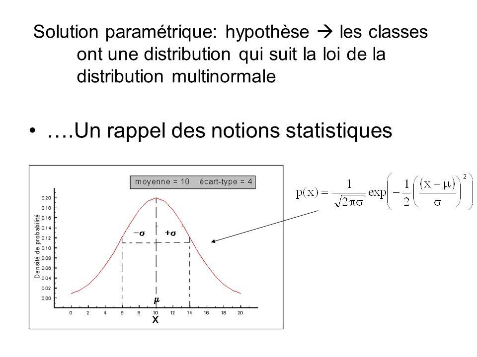 Solution paramétrique: hypothèse les classes ont une distribution qui suit la loi de la distribution multinormale ….Un rappel des notions statistiques