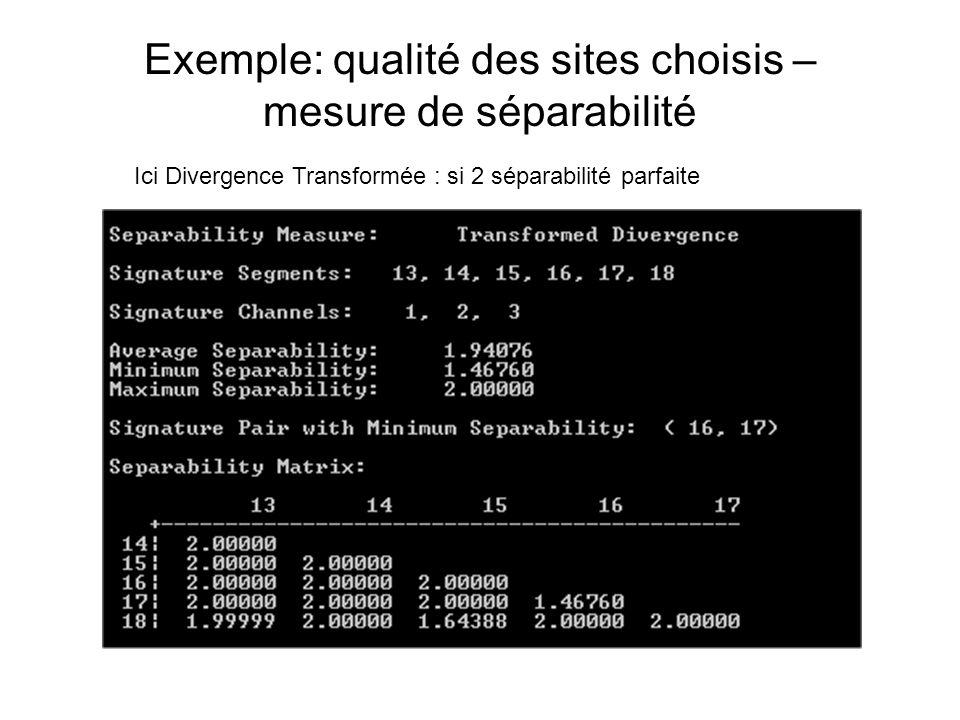 Exemple: qualité des sites choisis – mesure de séparabilité Ici Divergence Transformée : si 2 séparabilité parfaite