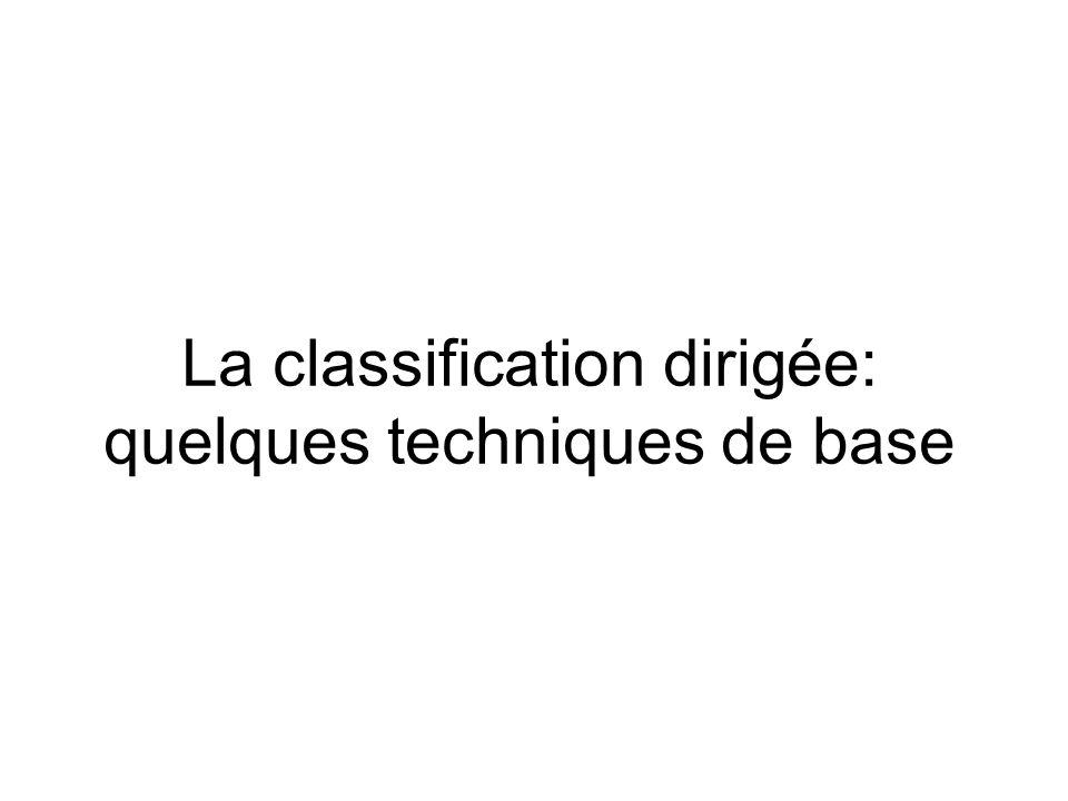 La classification par distance minimale Hypothèse: le domaine dune classe est défini en fonction de la proximité (distance euclidienne) de tous les points du domaine à un point central: lanalyste fournit des échantillons de pixels par classe Lalgorithme calcule le centre de chaque classe (moyennes) Illustration