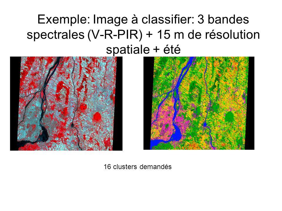 Exemple: Image à classifier: 3 bandes spectrales (V-R-PIR) + 15 m de résolution spatiale + été 16 clusters demandés