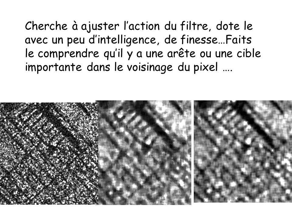 Cherche à ajuster laction du filtre, dote le avec un peu dintelligence, de finesse…Faits le comprendre quil y a une arête ou une cible importante dans le voisinage du pixel ….