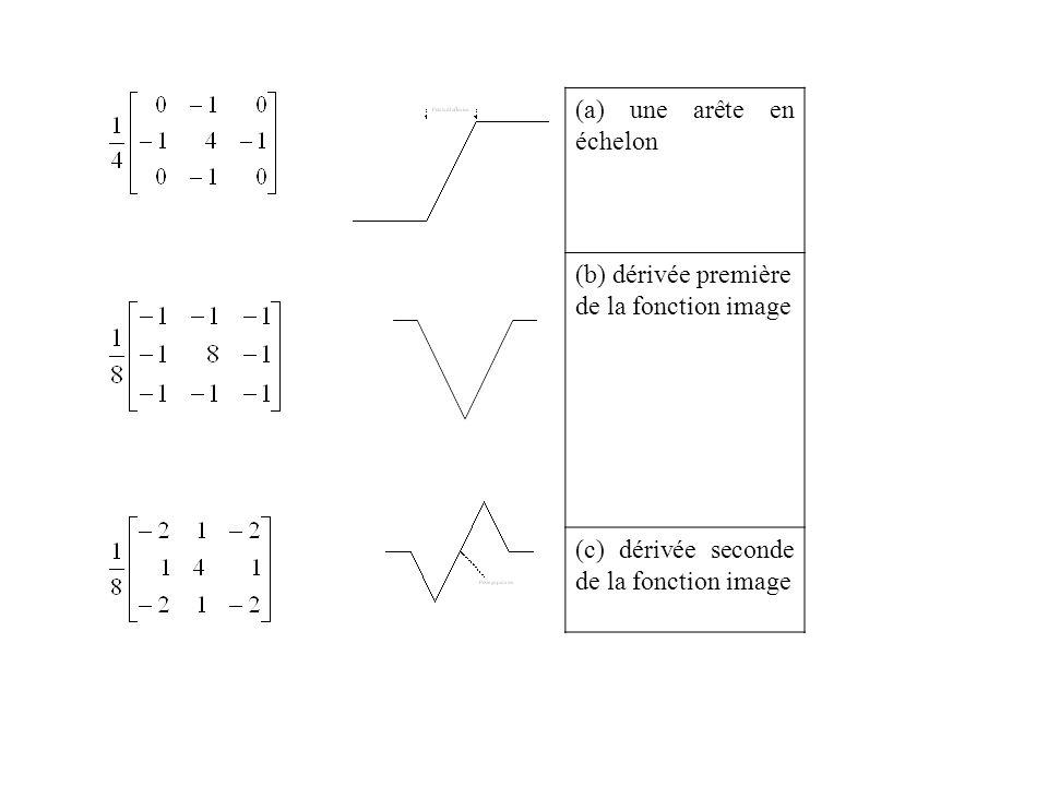 (a) une arête en échelon (b) dérivée première de la fonction image (c) dérivée seconde de la fonction image