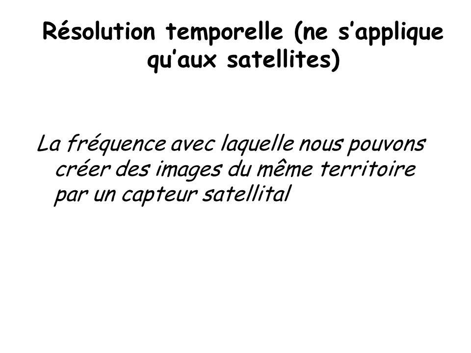 Résolution temporelle (ne sapplique quaux satellites) La fréquence avec laquelle nous pouvons créer des images du même territoire par un capteur satel